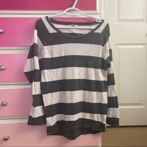 4/25 TNA white and grey striped long sleeve shirt